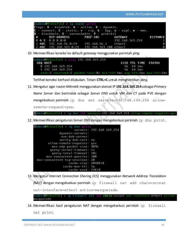 COPYRIGHT 2021 WWW.IPUTUHARIYADI.NET 19 WWW.IPUTUHARIYADI.NET 10. Memverifikasi koneksi ke default gateway menggunakan per...