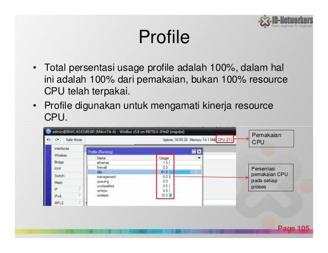 Profile • Total persentasi usage profile adalah 100%, dalam hal ini adalah 100% dari pemakaian, bukan 100% resource CPU te...