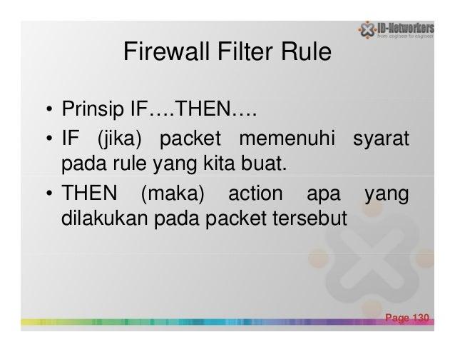 Firewall Filter Rule • Prinsip IF….THEN…. • IF (jika) packet memenuhi syarat pada rule yang kita buat. Powerpoint Template...