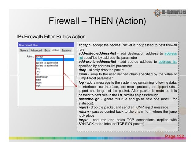 Firewall – THEN (Action) accept - accept the packet. Packet is not passed to next firewall rule. add-dst-to-address-list -...