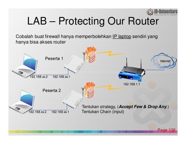 LAB – Protecting Our Router Cobalah buat firewall hanya memperbolehkan IP laptop sendiri yang hanya bisa akses router Powe...