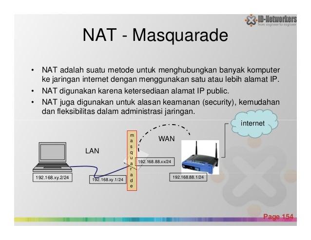 NAT - Masquarade • NAT adalah suatu metode untuk menghubungkan banyak komputer ke jaringan internet dengan menggunakan sat...