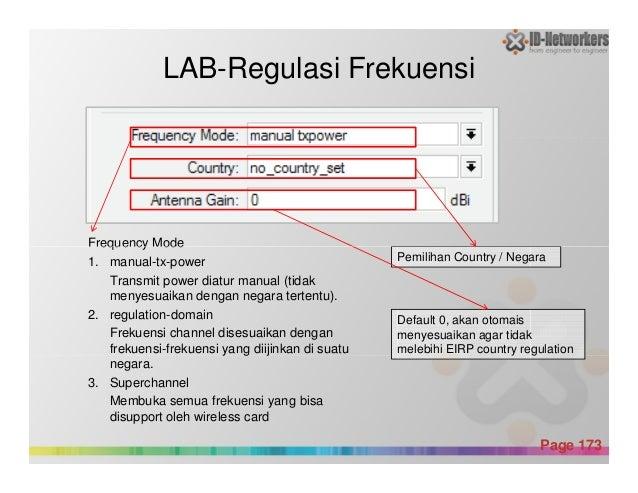 Frequency Mode LAB-Regulasi Frekuensi Powerpoint Templates Page 173 Frequency Mode 1. manual-tx-power Transmit power diatu...