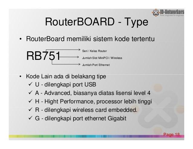 RouterBOARD - Type • RouterBoard memiliki sistem kode tertentu RB751 • Kode Lain ada di belakang tipe Seri / Kelas Router ...