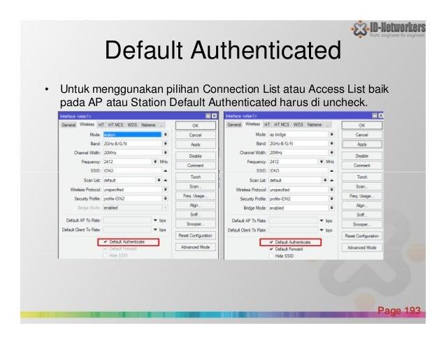 Default Authenticated • Untuk menggunakan pilihan Connection List atau Access List baik pada AP atau Station Default Authe...