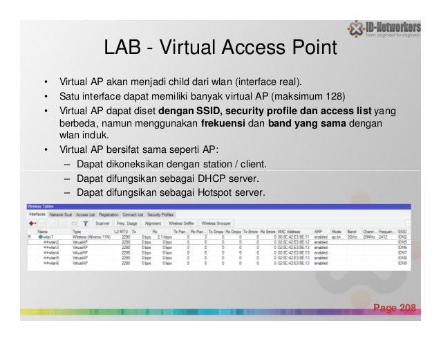 LAB - Virtual Access Point • Virtual AP akan menjadi child dari wlan (interface real). • Satu interface dapat memiliki ban...