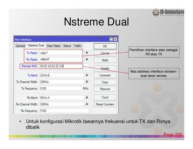 Nstreme Dual Powerpoint Templates Page 220 • Untuk konfigurasi Mikrotik lawannya frekuensi untuk TX dan Rxnya dibalik