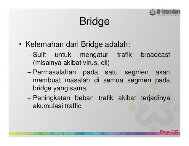 Bridge • Kelemahan dari Bridge adalah: – Sulit untuk mengatur trafik broadcast (misalnya akibat virus, dll) – Permasalahan...