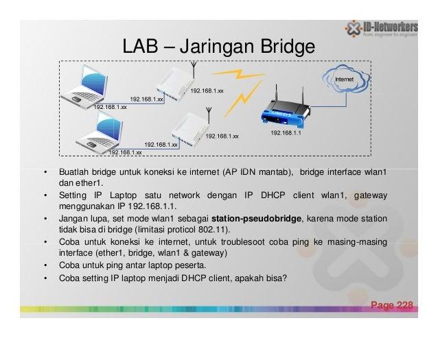 • Buatlah bridge untuk koneksi ke internet (AP IDN mantab), bridge interface wlan1 LAB – Jaringan Bridge Powerpoint Templa...