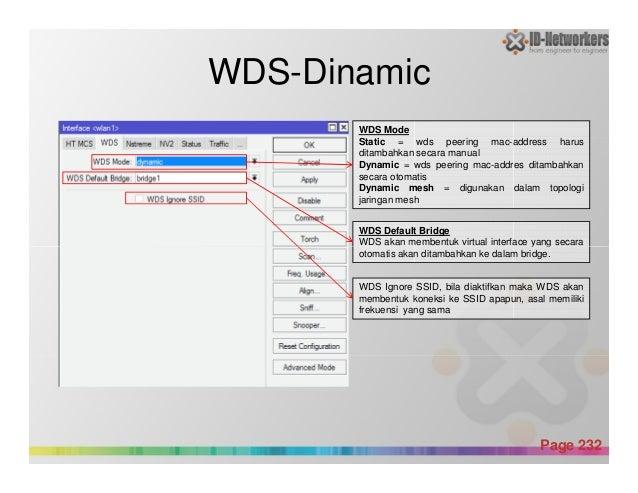 WDS-Dinamic WDS Mode Static = wds peering mac-address harus ditambahkan secara manual Dynamic = wds peering mac-addres dit...