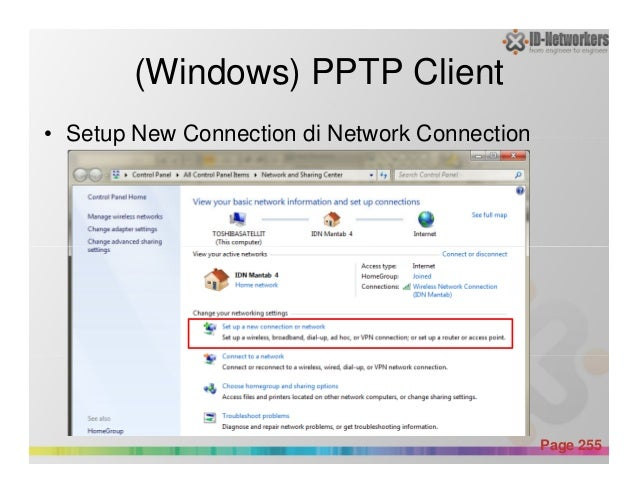 (Windows) PPTP Client • Setup New Connection di Network Connection Powerpoint Templates Page 255
