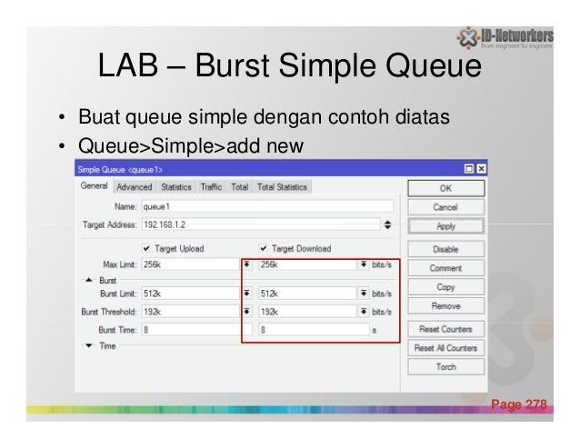 LAB – Burst Simple Queue • Buat queue simple dengan contoh diatas • Queue>Simple>add new Powerpoint Templates Page 278