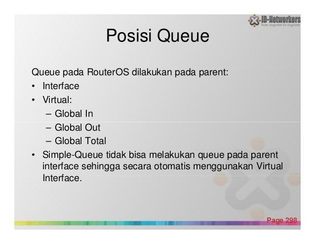 Posisi Queue Queue pada RouterOS dilakukan pada parent: • Interface • Virtual: – Global In – Global Out Powerpoint Templat...
