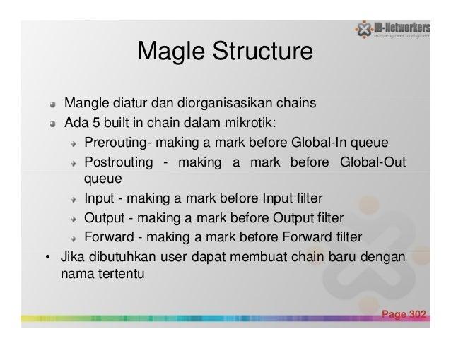 Magle Structure Mangle diatur dan diorganisasikan chains Ada 5 built in chain dalam mikrotik: Prerouting- making a mark be...