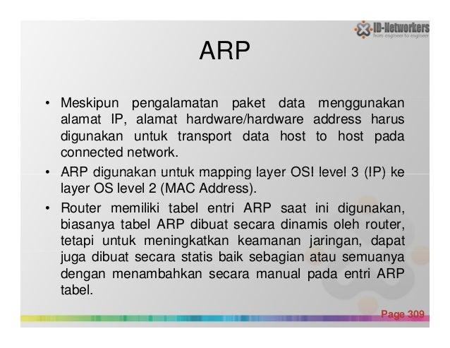 ARP • Meskipun pengalamatan paket data menggunakan alamat IP, alamat hardware/hardware address harus digunakan untuk trans...