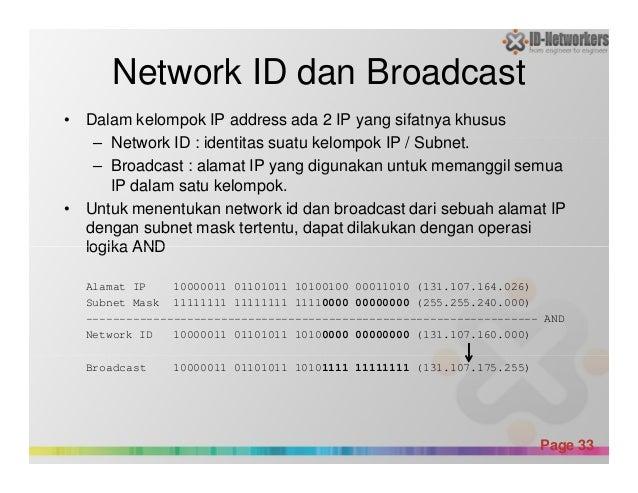 Network ID dan Broadcast • Dalam kelompok IP address ada 2 IP yang sifatnya khusus – Network ID : identitas suatu kelompok...