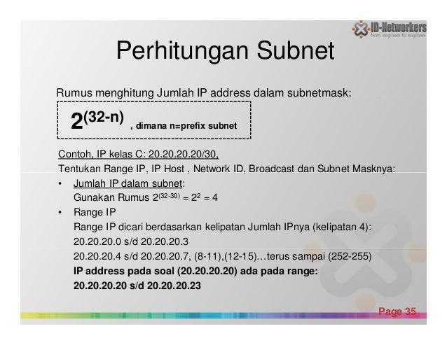 Perhitungan Subnet Contoh, IP kelas C: 20.20.20.20/30, Tentukan Range IP, IP Host , Network ID, Broadcast dan Subnet Maskn...