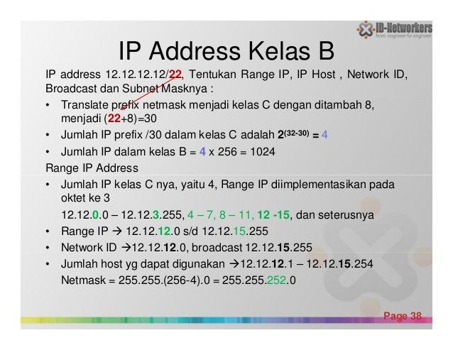 IP Address Kelas B IP address 12.12.12.12/22, Tentukan Range IP, IP Host , Network ID, Broadcast dan Subnet Masknya : • Tr...