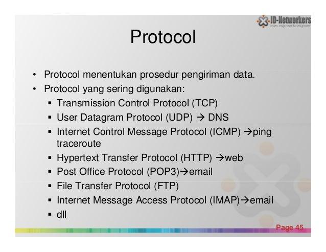 Protocol • Protocol menentukan prosedur pengiriman data. • Protocol yang sering digunakan: Transmission Control Protocol (...