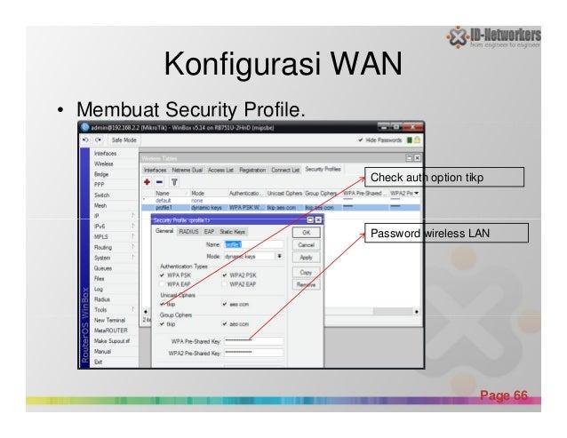 Konfigurasi WAN • Membuat Security Profile. Check auth option tikp Powerpoint Templates Page 66 Password wireless LAN