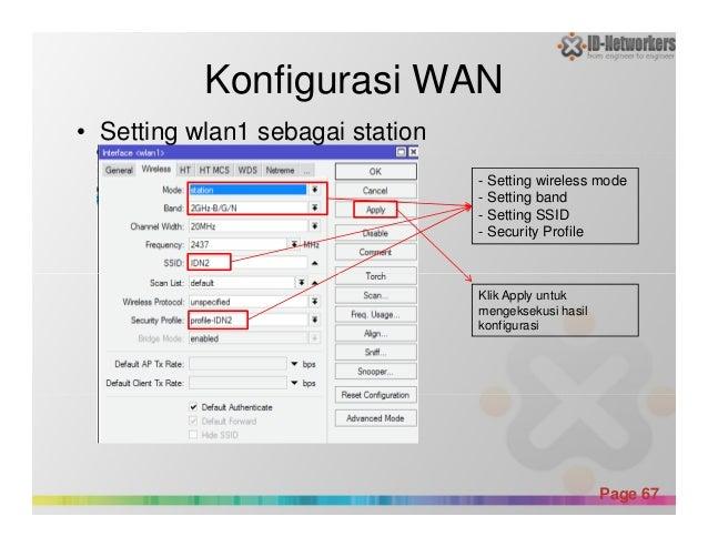 Konfigurasi WAN • Setting wlan1 sebagai station - Setting wireless mode - Setting band - Setting SSID - Security Profile P...
