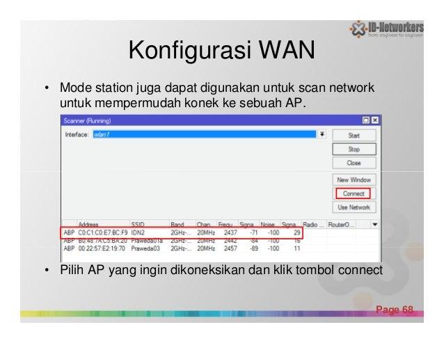 Konfigurasi WAN • Mode station juga dapat digunakan untuk scan network untuk mempermudah konek ke sebuah AP. Powerpoint Te...