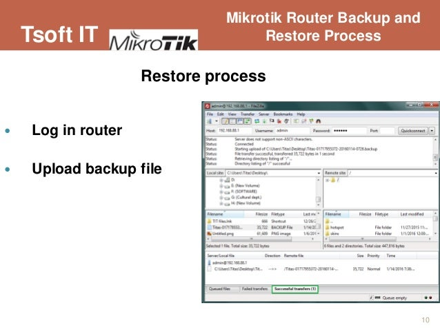 Mikrotik router backup and restore process