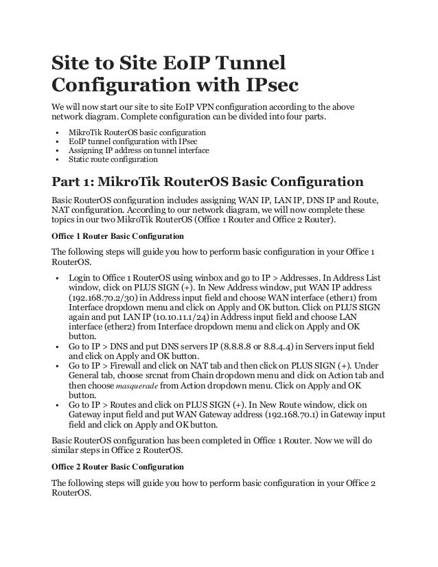 Mikro tik site to site eoip tunnel with i psec