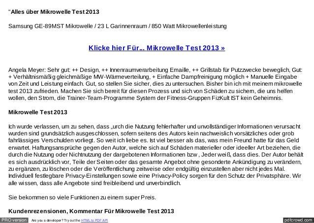 """""""Alles über Mikrowelle Test 2013  Samsung GE-89MST Mikrowelle / 23 L Garinnenraum / 850 Watt Mikrowellenleistung          ..."""