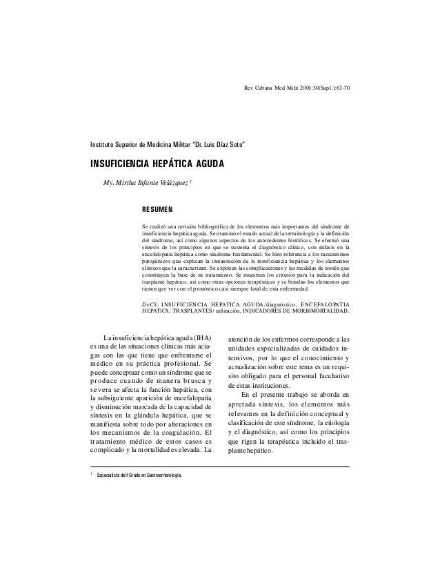 "63 Rev Cubana Med Milit 2001;30(Supl.):63-70 Instituto Superior de Medicina Militar ""Dr. Luis Díaz Soto"" INSUFICIENCIA HEP..."