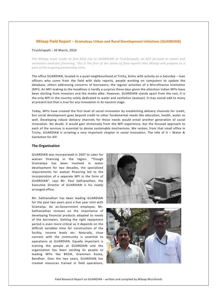 Milaap Field Report – Gramalaya Urban and Rural Development Initiatives (GUARDIAN)  Tiruchirapalli – 20 March, 2010  The M...