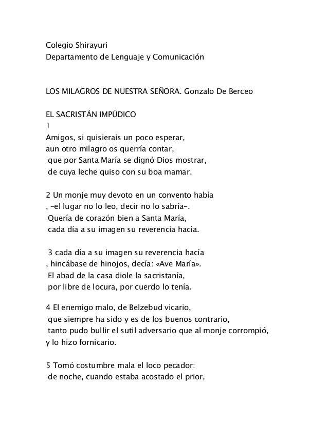 Colegio Shirayuri Departamento de Lenguaje y Comunicación LOS MILAGROS DE NUESTRA SEÑORA. Gonzalo De Berceo EL SACRISTÁN I...