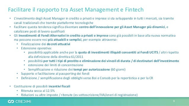 Facilitare il rapporto tra Asset Management e Fintech • L'investimento degli Asset Manager in credito a privati e imprese ...