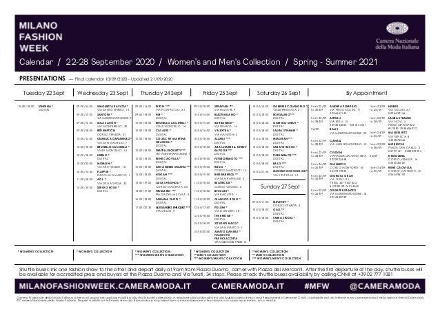 Milano fashion week 2020, il calendario