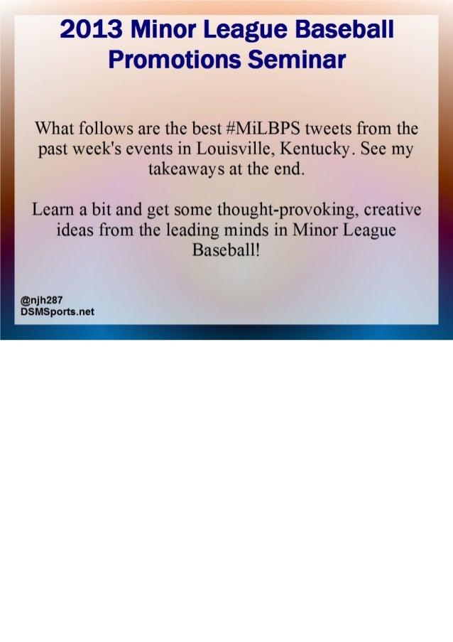 2013 Minor League Baseball (MiLB) Promotions Seminar