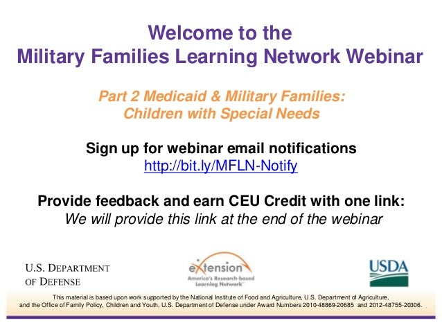 Sign up for webinar email notifications http://bit.ly/MFLN-Notify Provide feedback and earn CEU Credit with one link: We w...