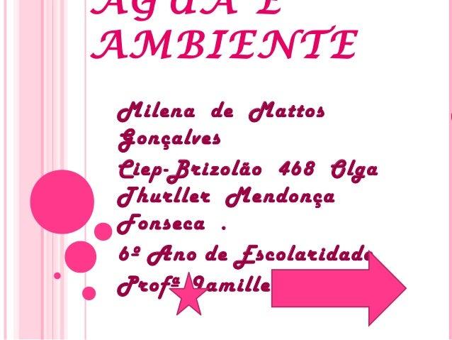 ÁGUA E AMBIENTE Milena de Mattos Gonçalves Ciep-Brizolão 468 Olga Thurller Mendonça Fonseca . 6º Ano de Escolaridade Profª...
