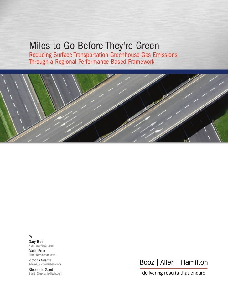 Miles to Go Before They're Green Reducing Surface Transportation Greenhouse Gas Emissions Through a Regional Performance-B...