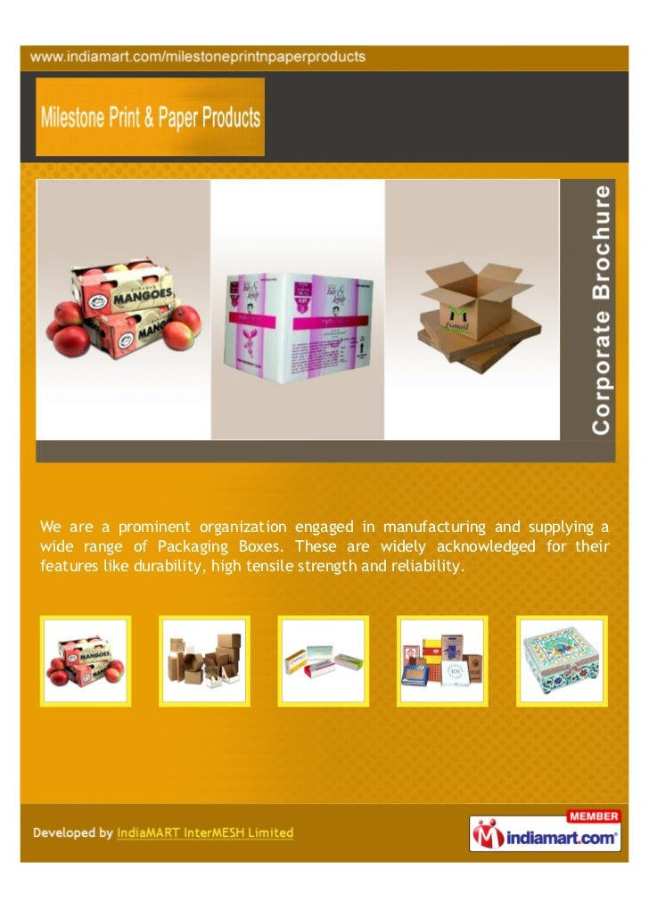 We are a prominent organization engaged in manufacturing and supplying awide range of Packaging Boxes. These are widely ac...