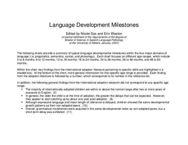 Language Development Milestones Edited by Nicole Sax and Erin Weston (in  partial fulfillment of the ...