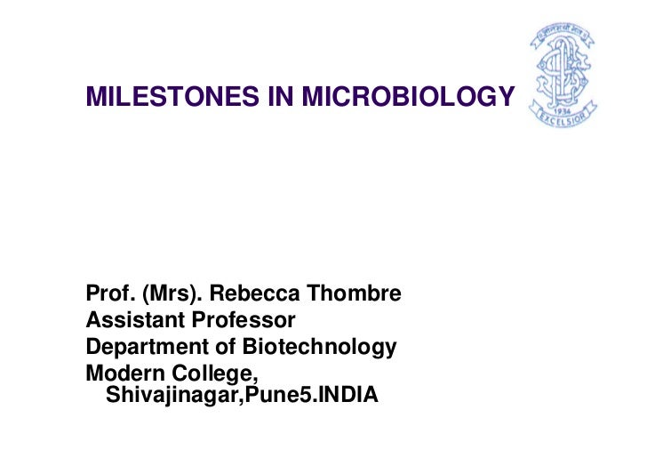 MILESTONES IN MICROBIOLOGYProf. (Mrs). Rebecca ThombreAssistant ProfessorDepartment of BiotechnologyModern College,  Shiva...