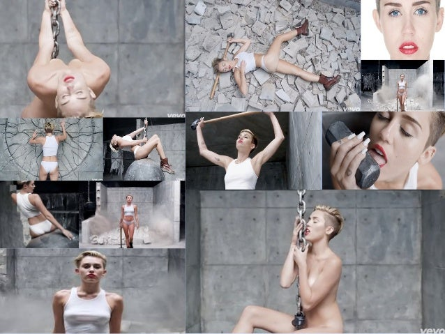 In this shot, Miley sits on a wrecking ball nude while caressing the chain. She sits in the midst of solid grey walls, the...