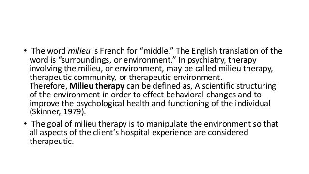 Milieu therapy—the therapeutic community Slide 2