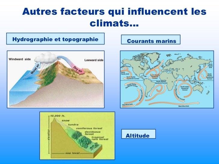 Autres facteurs qui influencent les               climats…Hydrographie et topographie   Courants marins                   ...