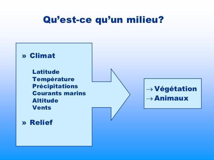 Qu'est-ce qu'un milieu?» Climat  Latitude  Température  Précipitations         Végétation  Courants marins  Altitude     ...