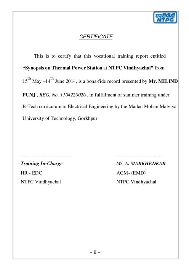 VOCATIONAL TRAINING REPORT @ NTPC VINDHYACHAL