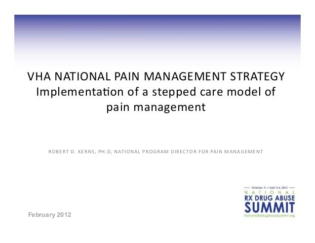 VHA  N ATIONAL  PAIN  M ANAGEMENT  STRATEGY  Implementa8on  o f  a   stepped  care  m odel  o f   ...