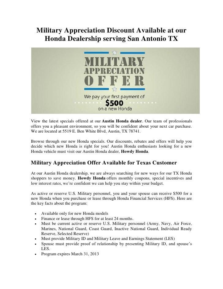 Honda Dealership San Antonio Tx >> Military Appreciation Discount Available At Our Honda