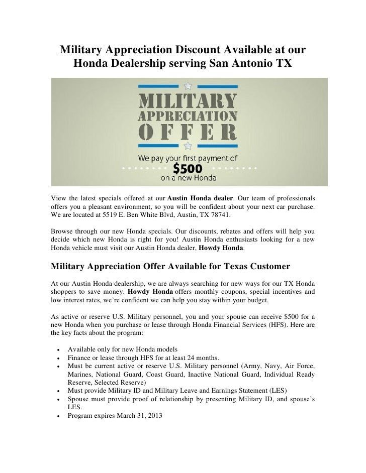 Military Appreciation Discount Available At Our Honda Dealership Serving San  Antonio TXView The Latest Specials ...