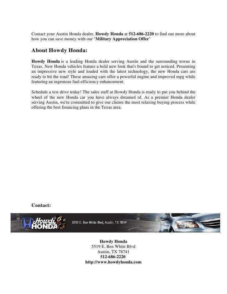 Program Expires March 31, 2013; 2. Contact Your Austin Honda Dealer, Howdy  ...